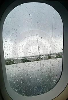 Rainy plane window