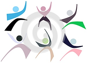 Set of colorful People logos isolated