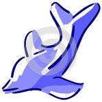 Stylized dolphin in shades of blue isolated