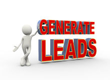 """white cartoon person holding up a """"generate leads"""" sign"""