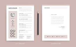 Female Resume And Cover Letter Template Stock Vector   Illustration     Elegant CV   resume and cover letter template   dusty rose pink Stock Photos
