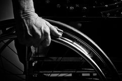 Hands Senior in wheelchair Royalty Free Stock Photography