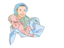 Midwife and newborn Royalty Free Stock Photo