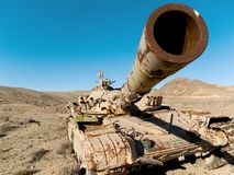 Military tank in the desert Royalty Free Stock Photo