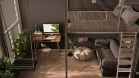 minimalist studio apartment with loft