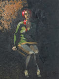 Painting of woman sitting in the dark Royalty Free Stock Photos
