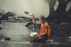 Novice on the creek. Stock Photography