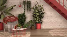 rustic lounge with rattan armchair and