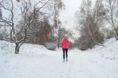 winter running park happy active woman runner jogging snow outdoor sport fitness winter running park happy active 104262889