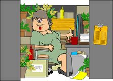Woman In A Cluttered Cubicle Royalty Free Stock Images