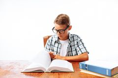 Download Funny Girl Student With Glasses Reading Books Stock Image ...