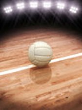 3d Rendering Of A Volleyball On A Court With Stadium Lighting Stock Photo - 40272600