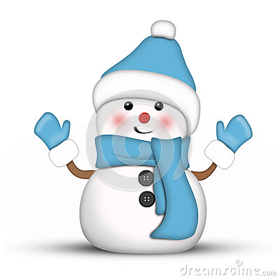 Amusing Snowman Dressed In Blue Royalty Free Stock Photos