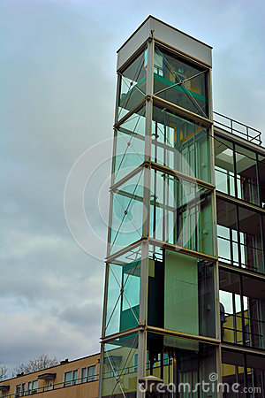 Architecture Glass Elevator Shaft Stock Photo Image