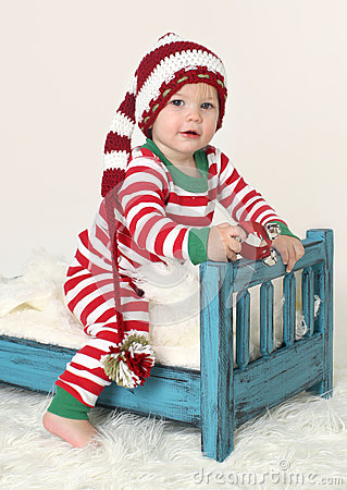 Baby Christmas Outfit Elf Hat Stock Photo Image 34037440