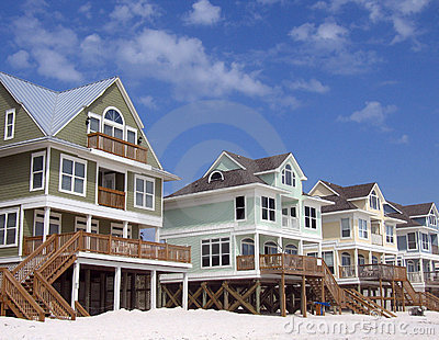 Beach Homes On Blue Sky Background Stock Photos Image