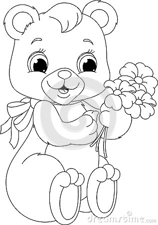 bear coloring page stock vector image 42198978