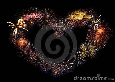 Beau Grand Coeur De Feu Dartifice Images Stock Image