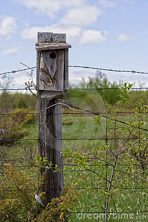 Bird House On Fence Post Stock Images Image 13957344