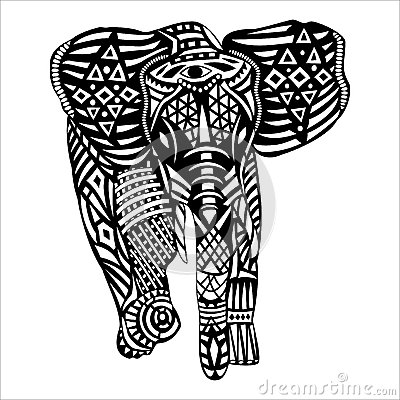 Black Elephant With White Patterns On Body Stock Vector