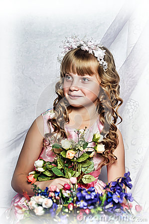 blond girl with white flowers in her hair royalty free stock photos image