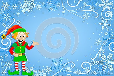 Blue Christmas Background With Elf Stock Images Image