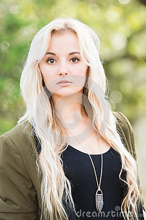 Brown Eyes And Blonde Hair Royalty Free Stock Photography