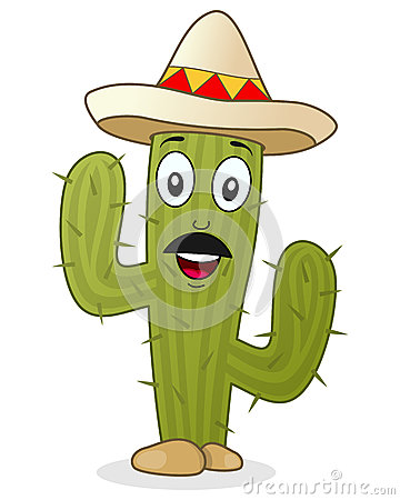 Cactus Character With Mexican Hat Stock Vector Image