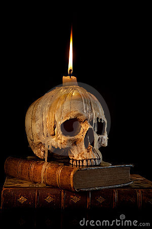 Candle On Skull 1 Royalty Free Stock Photos Image 10698498