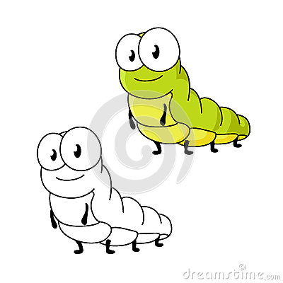 Cartoon green butterfly caterpillar insect