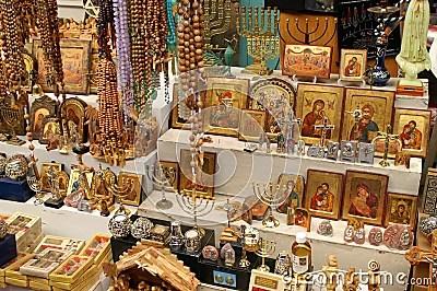 Christian Symbols In The Jerusalem East Market Stock