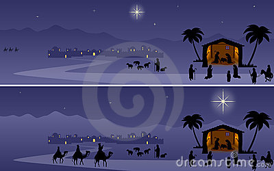 Christmas Banners Nativity Stock Photography Image
