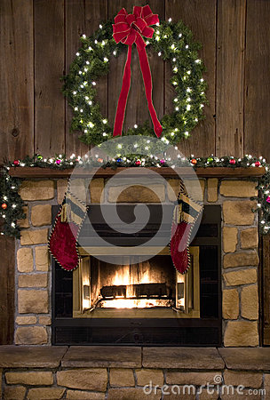 Christmas Fireplace Hearth With Wreath And Stockings Stock