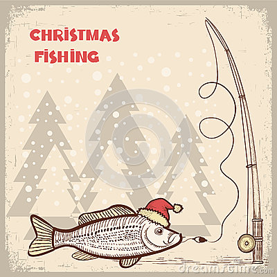 Christmas Fishing Card With Fish In Red Santa Hat Royalty