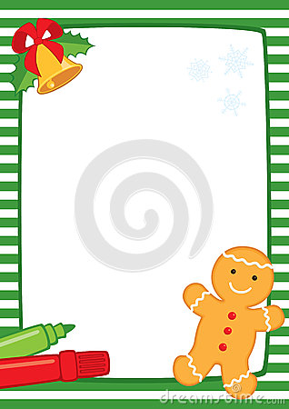 Christmas Frame With Cookie A3 Stripes Stock Vector