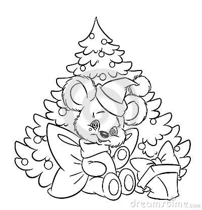 christmas little teddy bear tree gift coloring pa royalty free stock