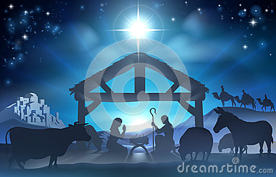 Christmas Nativity Scene Stock Vector Image 45039444