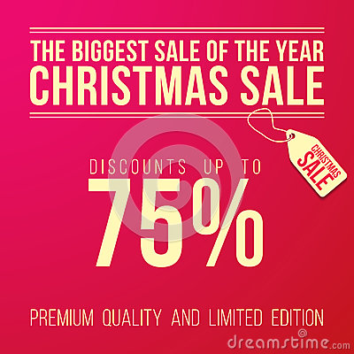 Christmas Sale Ad With Big Discount Designed Stock Vector
