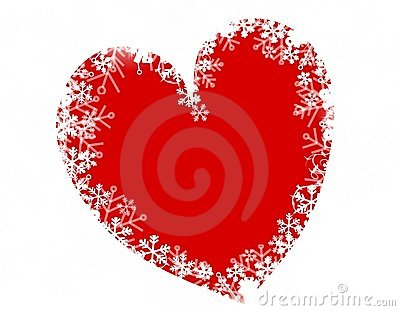 Christmas Snowflake Heart Love Royalty Free Stock Photo