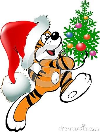 Christmas Tiger Stock Photography Image 10745602