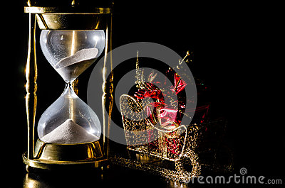 Christmas Time Concept With Hourglass Royalty Free Stock