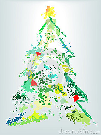 Christmas Tree Holiday Grunge Paint Splatter Stock