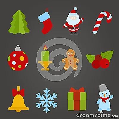 Christmas Vector Flat Design Icon Set Happy New Y Stock