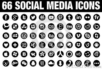 66 black round social media icons