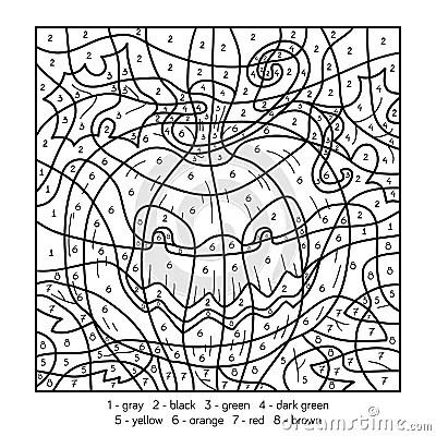 color by number halloween pumpkin stock vector image 73796980