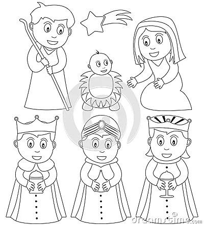 Coloring Christmas Nativity Royalty Free Stock Photography