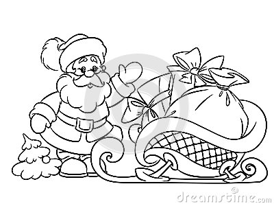 coloring pages santa claus and christmas gifts stock photos image