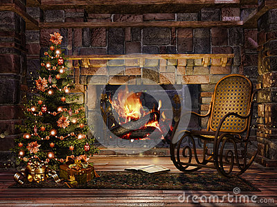 Cottage Room With A Christmas Tree Royalty Free Stock