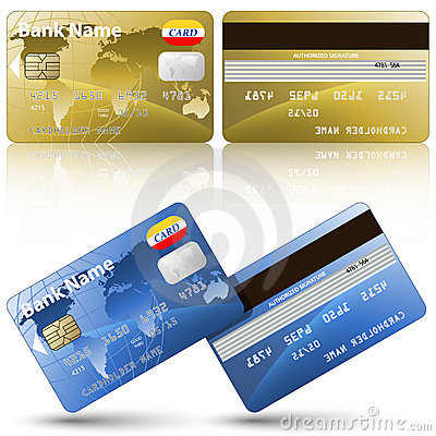 Credit Cards Front And Back View Stock Images Image