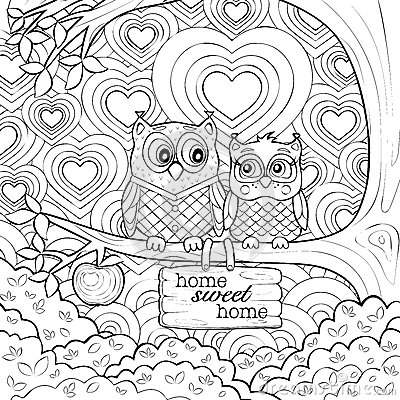 cute owls art therapy coloring page stock vector image 60508121